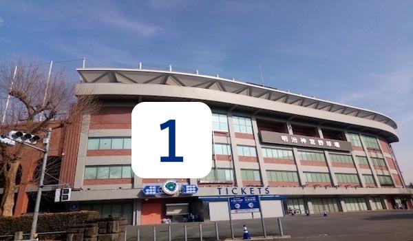 神宮球場と山田哲人の背番号
