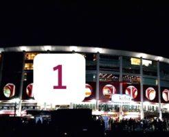 宮城球場と松井裕樹の背番号